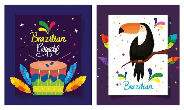 Set di poster carnevale brasile con decorazione