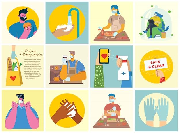 Set di poster con le mani lavate pulite. pasto protetto da virus. set di illustrazione di scopo sanitario. illustrazione in stile piatto moderno. concetto di protezione da virus corona.