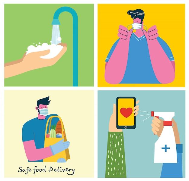 Set di poster con le mani lavate pulite.