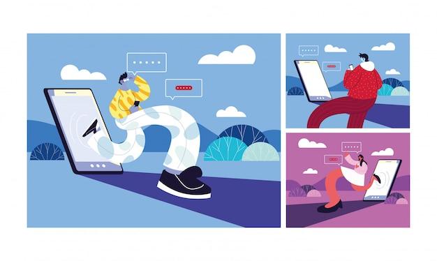 Set di poster con persone e smartphone in chat