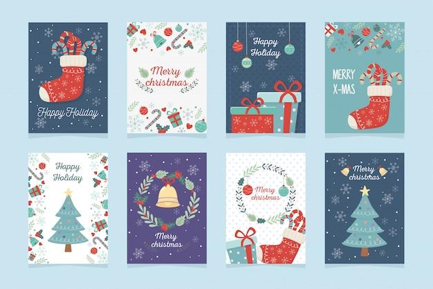 Set di poster decorazione celebrazione buon natale
