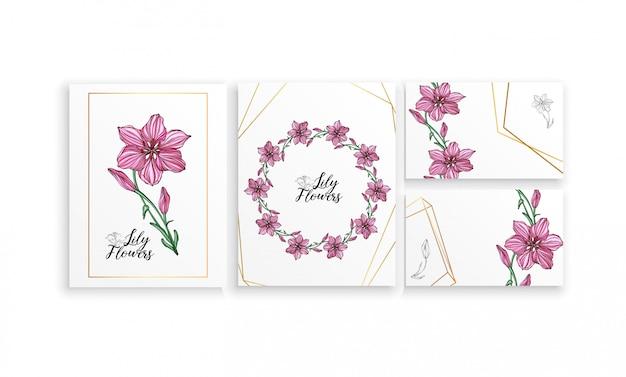 Set di poster di cartoline con fiori di giglio