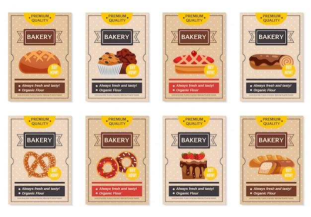 Set di poster di prodotti da forno