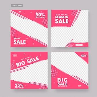 Set di poster di vendita o modello di progettazione in stile piatto con differe