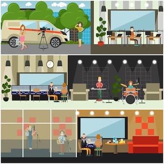 Set di poster piatto concetto di trasmissione radio