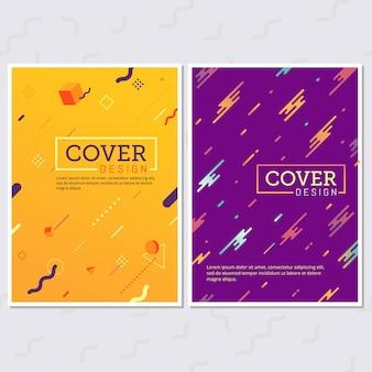 Set di poster stile memphis. sfondi a colori fluidi