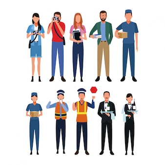 Set di posti di lavoro e occupazione
