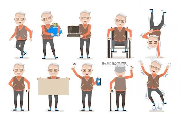 Set di postura uomo anziano.