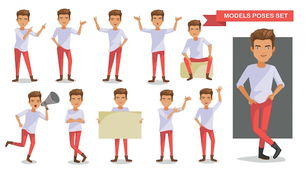 Set di posture di personaggi uomo.