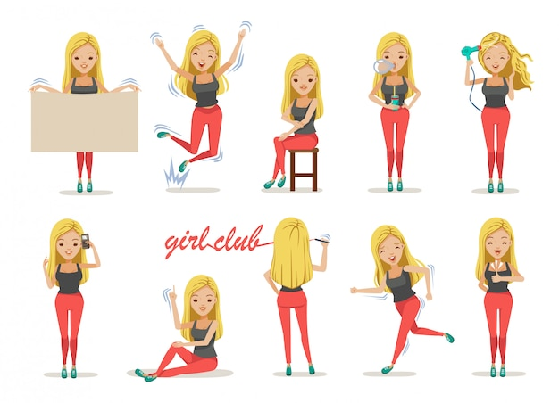 Set di posture ragazza.