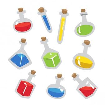 Set di pozioni chimiche semplici e piatte
