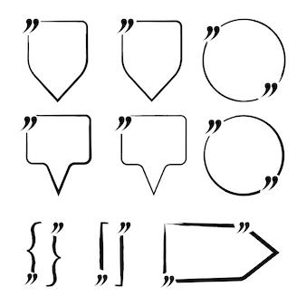 Set di preventivo vuoto, virgolette. modello per nota, messaggio, commento. illustrazione vettoriale