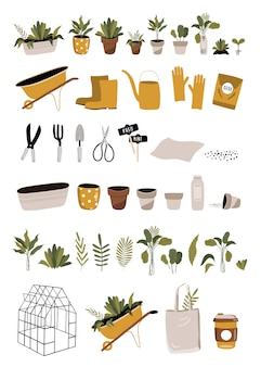 Set di primavera con attrezzi da giardinaggio.