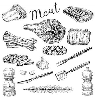 Set di prodotti a base di carne stile schizzo disegnato a mano di inchiostro