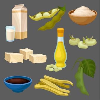 Set di prodotti alimentari di soia, latte, olio, salsa, tofu, fagioli, farina, carne, dieta sana, cibo vegetariano biologico illustrazione