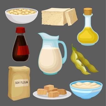 Set di prodotti alimentari di soia, latte, olio, salsa, tofu, fagioli, farina, dieta sana, illustrazione di cibo vegetariano biologico