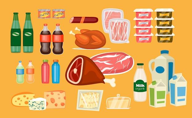 Set di prodotti alimentari quotidiani in stile piatto