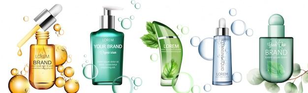 Set di prodotti biologici in bottiglie trasparenti