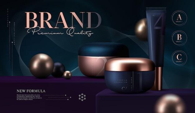 Set di prodotti cosmetici. vasetto di crema premium per prodotti per la cura della pelle. crema viso di lusso. cosmetico elegante