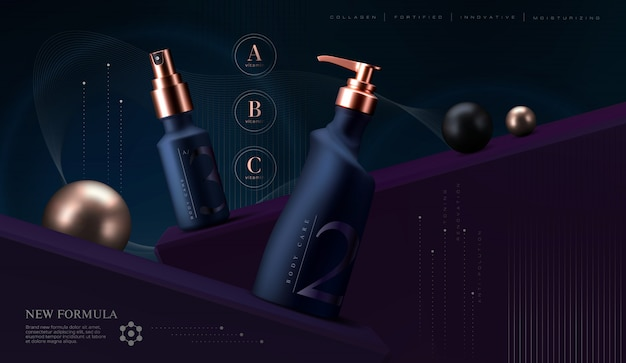 Set di prodotti cosmetici. vasetto di crema premium per prodotti per la cura della pelle. crema viso di lusso. design elegante volantino o banner pubblicitari cosmetici.