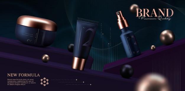 Set di prodotti cosmetici. vasetto di crema premium per prodotti per la cura della pelle. crema viso di lusso.
