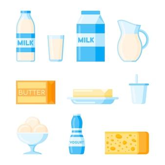 Set di prodotti lattiero-caseari in stile piatto.