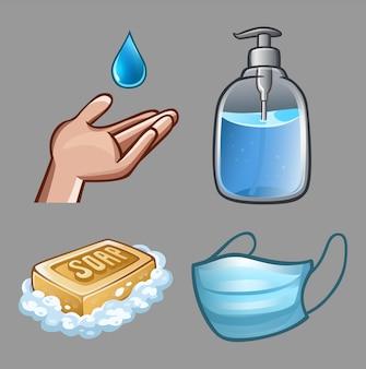 Set di prodotti per l'igiene con disinfettante e sapone