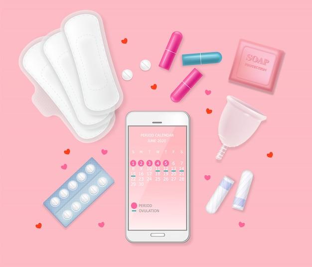 Set di prodotti per l'igiene del ciclo mestruale femminile. telefono con calendario, assorbenti, tamponi, pillole, fiori, cuori