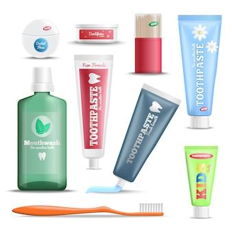 Set di prodotti realistici per la cura dei denti