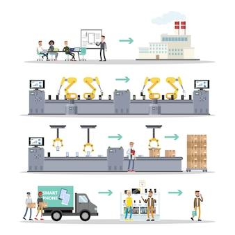 Set di produzione per smartphone. persone che producono telefoni sul nastro trasportatore.