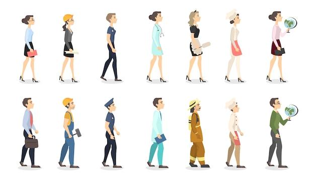 Set di professioni di donna. insegnante e ufficiale di polizia, imprenditrice e scienziato.