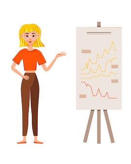 Set di progettazione di carattere di lavoro imprenditrice. la ragazza mostra sul grafico di sviluppo.