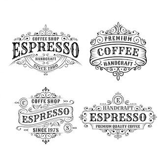 Set di progettazione di etichette vintage caffè, calligrafia e elementi in stile design tipografico