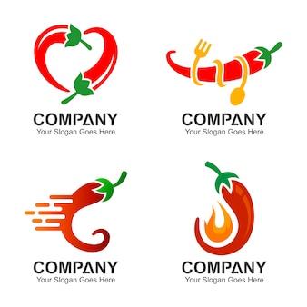 Set di progettazione logo chili, set di icone di peperoncino