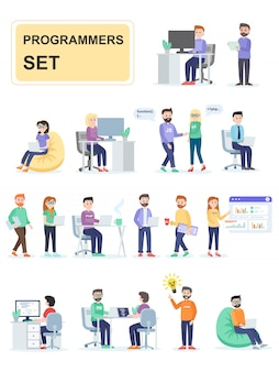 Set di programmatori che sviluppano programmi personalizzati.