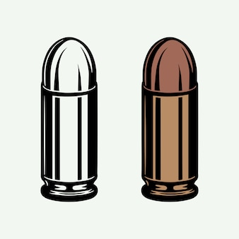 Set di proiettili vintage retrò in modalità monocromatica e colore. munizioni da 9 mm per pistola a pistola. stile linea xilografia.