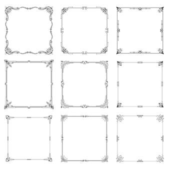 Set di proporzioni rettangolo astratto di cornici e bordi decorativi.