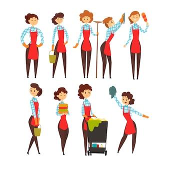 Set di pulizie professionali femminili, illustrazioni del fumetto del team di società di pulizie su sfondo bianco