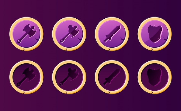 Set di pulsante arma fantasy con bordo dorato. perfetto per i giochi di combattimento 2d rpg