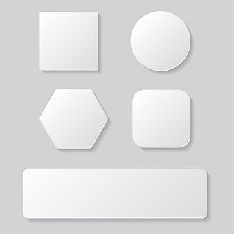 Set di pulsante bianco vuoto. bottoni rotondi quadrati arrotondati