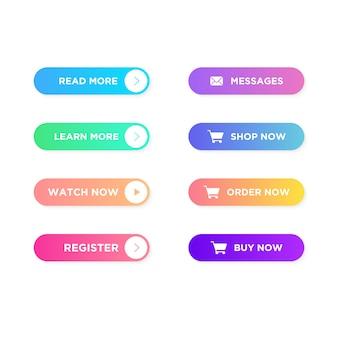 Set di pulsanti con colori sfumati alla moda