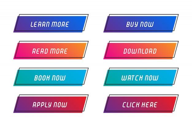 Set di pulsanti con cornice per sito web.