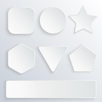 Set di pulsanti di carta 3d in varie forme.