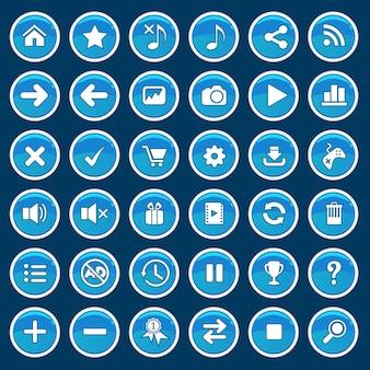 Set di pulsanti di gioco del fumetto blu lucido stile lucido.