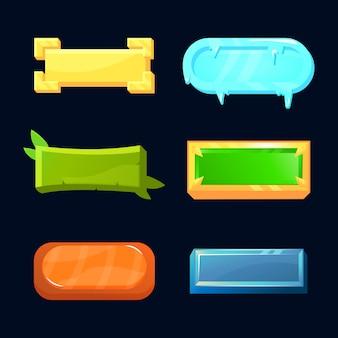 Set di pulsanti di gioco dell'interfaccia utente