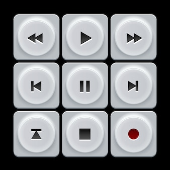 Set di pulsanti di navigazione di vettore bianco giocatore di plastica