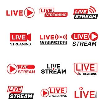 Set di pulsanti di streaming live