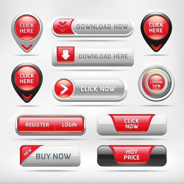 Set di pulsanti elementi web rosso lucido.