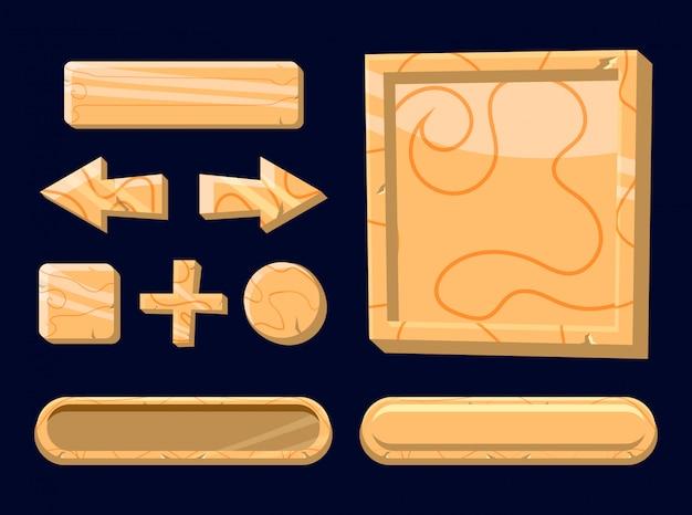 Set di pulsanti modello in legno per elementi di asset di gioco 2d