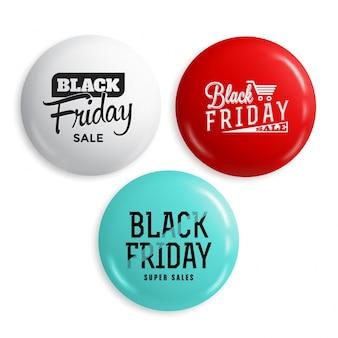 Set di pulsanti o distintivi lucidi vendita venerdì nero